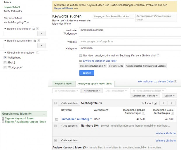 Google Adwords Suggestion Tool